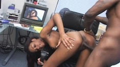 Ebony slut Hypnotic gets banged hard by a black stud in every position