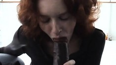 Skinny redhead slut with tiny boobs gets nailed by two hung black guys