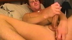 Handsome Scott toys his anal hole and jerks off his big dick to orgasm