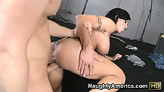Busty brunette Jewels Jade sits on him and then goes doggy style