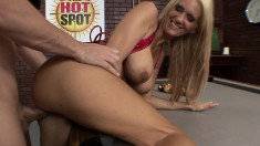 Stacked blonde dancer flashes her attributes and enjoys a hard fucking