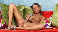 Sexy slim blonde with lovely tits makes herself cum with two sex toys