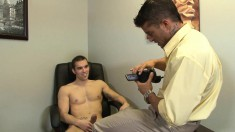 Ripped young stud shows off his cocksucking skills in a gay casting call