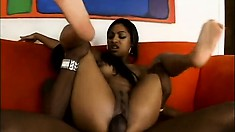 Babydoll lets him ram his big black cock in her tight chocolate hole