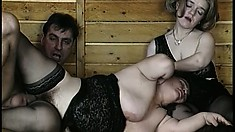 The two chicks play with each other while he fucks her hairy pussy