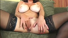 Big natural tit Lucky Benton poses and shows ass before she fingers