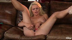 Back In The Saddle With A Dildo In Her Sweet Country Girl Twat