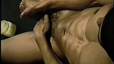 Gorgeous black stallion oils his long tool and masturbates greatly
