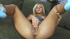 Busty blonde Bree Olson gives his monster a sloppy blowjob then he splits her wide open
