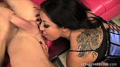 Striking brunette cougar Kiara Mia tongues his anal hole and fucks his long cock