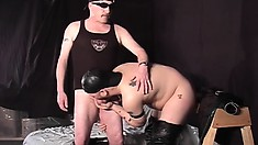Pooch and his gay friend get rid of their leather clothes and exchange blowjobs