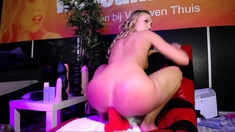 Busty blonde brutal ass toying