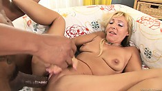 Ebony hunk destroys a blonde cougar's pink slit with his dong