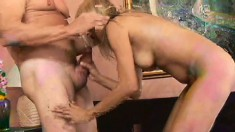 Mature blonde rides his cock wave all the way to the orgasmic explosion